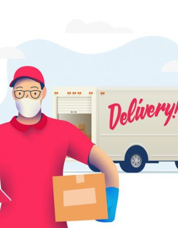 Delivery courier man with medical protective mask on his face holding package with delivery truck on background. Delivery during quarantine time. Vector eps 10 illustration.